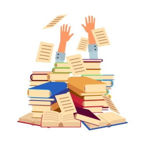 Hands Sticking Out from under pile of Books