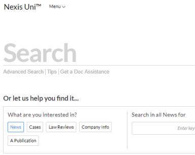 Nexis Uni home page