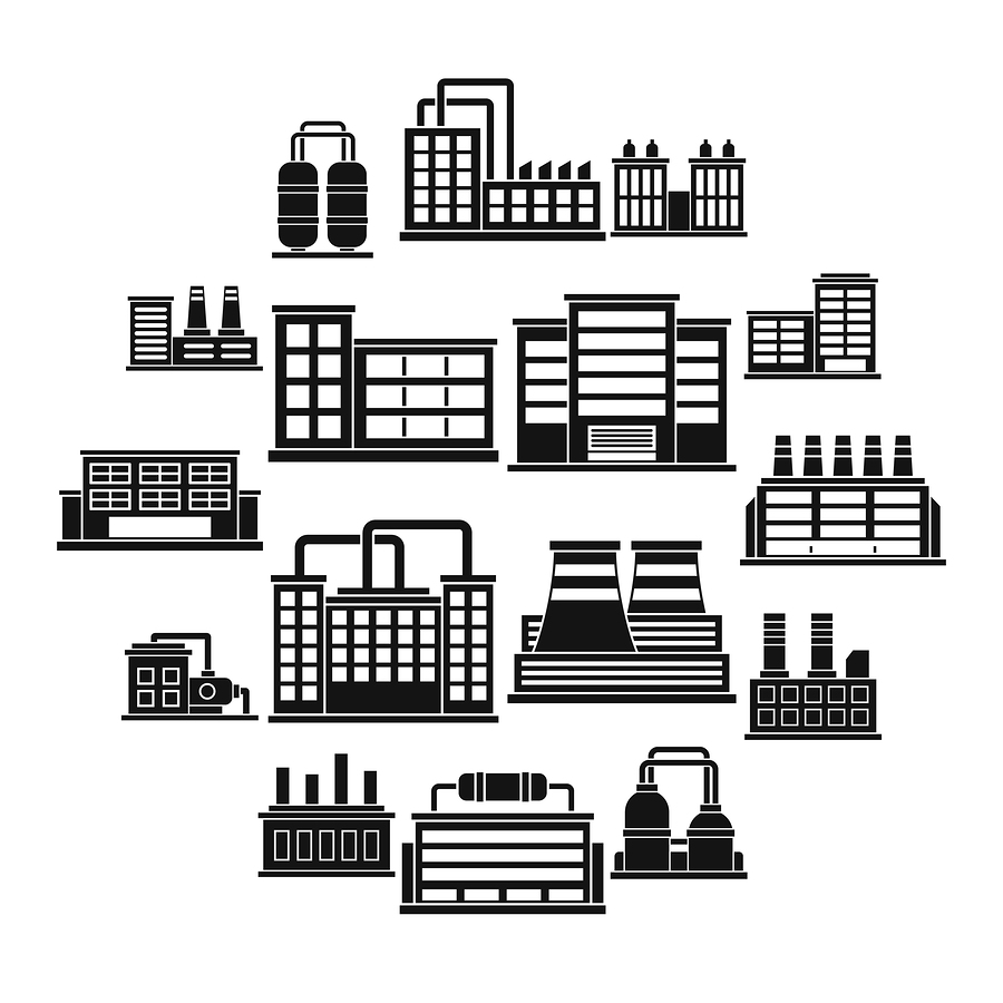 Industrial Building Factory Icons Set. Simple Illustration Of 16